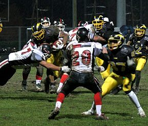 Patrice Kancel fight against the Pioneers (c) EFAF